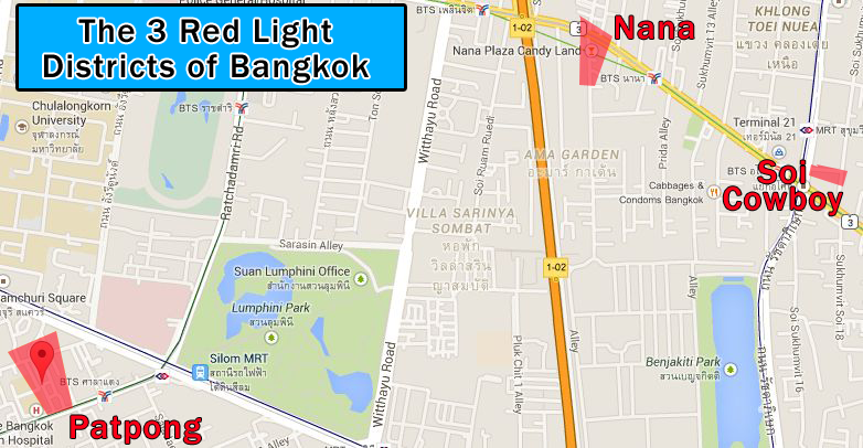 All three red light districts are not far from the other. Though Nana and Soi Cowboy are the closest together...