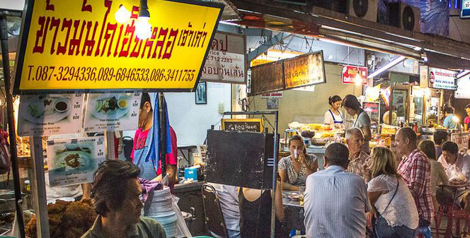 On the streets and in restaurants, you'll never be hungry in the red light districts of Bangkok...