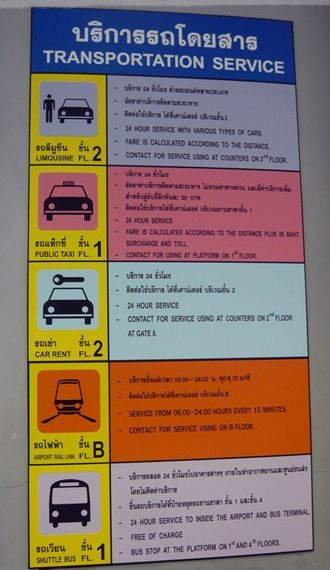 Suvarnabhumi Airport has many signs leading to transportation.